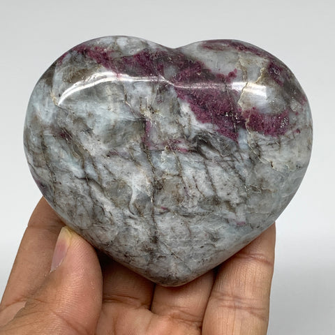 "220.6g, 2.5""x3""x1.3"" Rubellite Heart Polished Healing Crystal Gemstone, B3686"