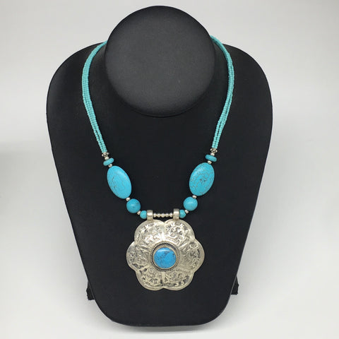 "1pc,Turkmen Necklace Pendant Statement Tribal Turquoise Inlay Beaded,20-21"",BN24"
