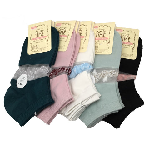 10Pairs,High Quality 5 different Color Low Cut Women's Socks -Size:22-25cm,Soc25 - watangem.com