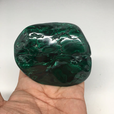 "353.2g,3.4""x2.8""x1.2"" Shiny Glassy Polish Natural Malachite Gemstone Congo,MS397"