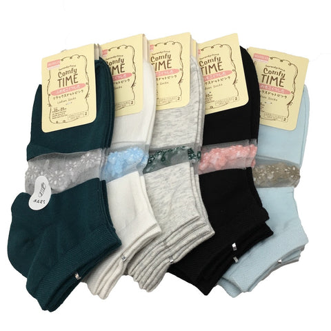 12 Pairs,Quality 5 different Color Low Cut Women's Socks -Size:22-25cm,Soc26