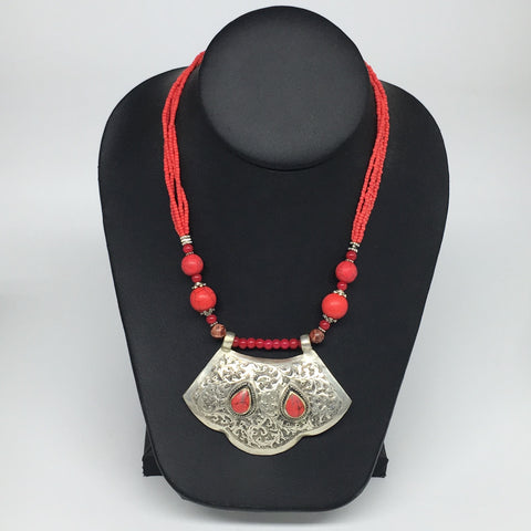 "1pc, Turkmen Necklace Pendant Statement Tribal Coral Inlay Beaded,20-21"", BN29"