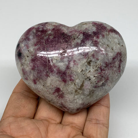 "265g, 2.5""x3""x1.5"" Rubellite Heart Polished Healing Crystal Gemstone, B3693"