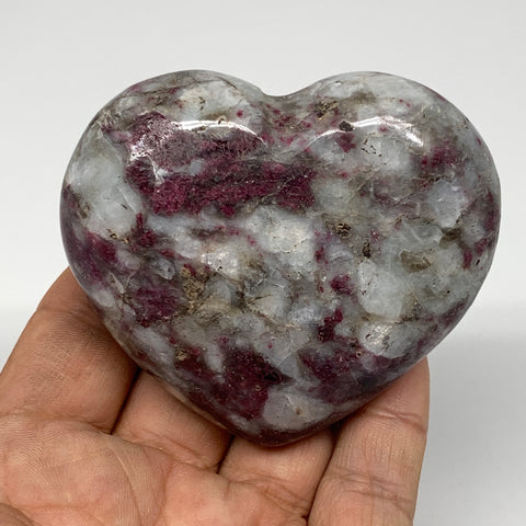 "193.3g, 2.4""x2.9""x1.1"" Rubellite Heart Polished Healing Crystal Gemstone, B3699"