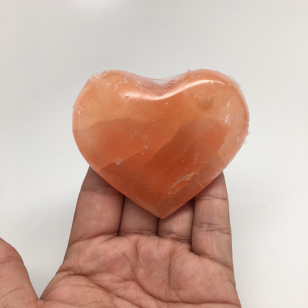 "2.3""-3"" Orange Selenite Puffy Heart Shape Healing Crystal Reiki @Morocco,SLM03A"
