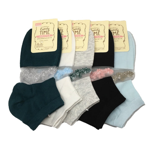 12Pairs,High Quality 5 different Color Low Cut Women's Socks -Size:22-25cm,Soc38