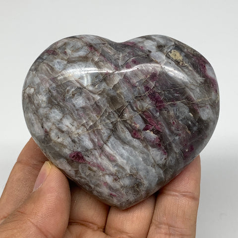 "152.9g, 2.4""x2.7""x1.1"" Rubellite Heart Polished Healing Crystal Gemstone, B3704"