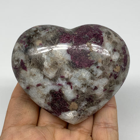 "214.1g, 2.5""x3""x1.3"" Rubellite Heart Polished Healing Crystal Gemstone, B3707"