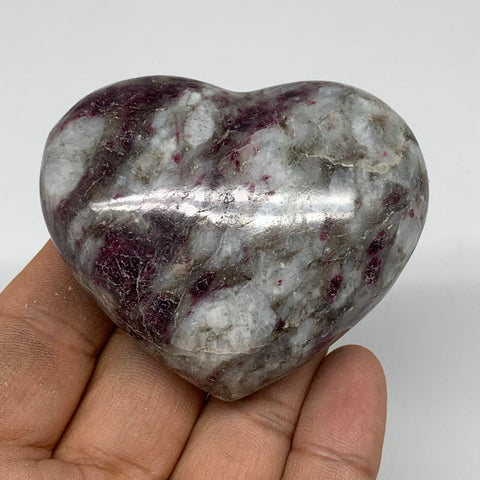 "133.2g, 2.1""x2.5""x1.1"" Rubellite Heart Polished Healing Crystal Gemstone, B3708"