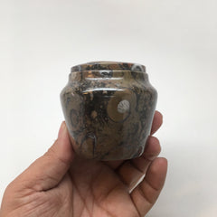 "254g, 2.6""x2.7"" Small Round Fossils Ammonite Brown Jewelry Box @Morocco,MF851 - watangem.com"