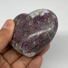 "216g, 2.4""x2.8""x1.3"" Rubellite Heart Polished Healing Crystal Gemstone, B3709"