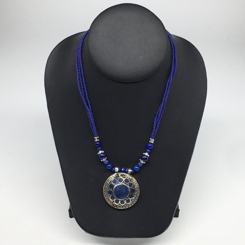 Turkmen Necklace Afghan Kuchi Tribal Blue Fashion Pendant Beaded Necklace VS171
