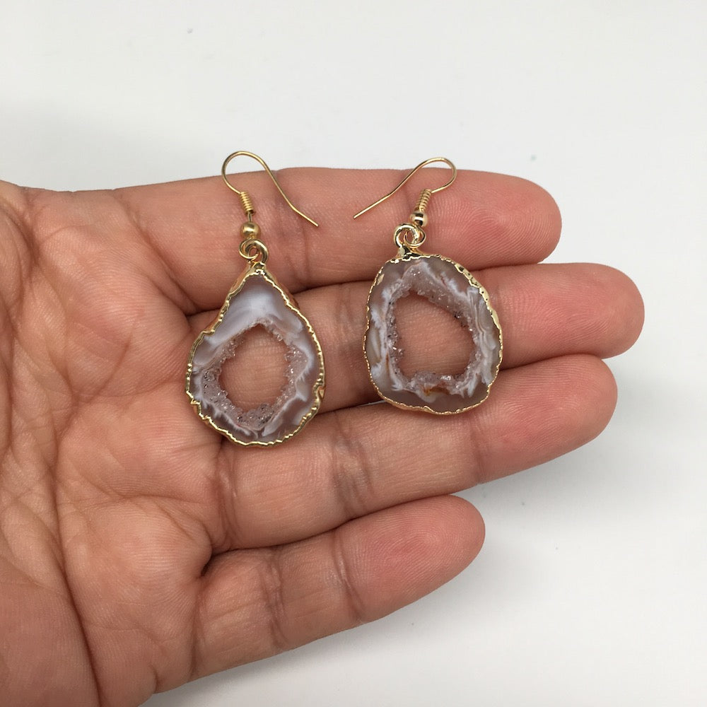 "6.2 grams, 1.7"" Agate Druzy Slice Geode Gold Plated Earrings from Brazil, BE109"