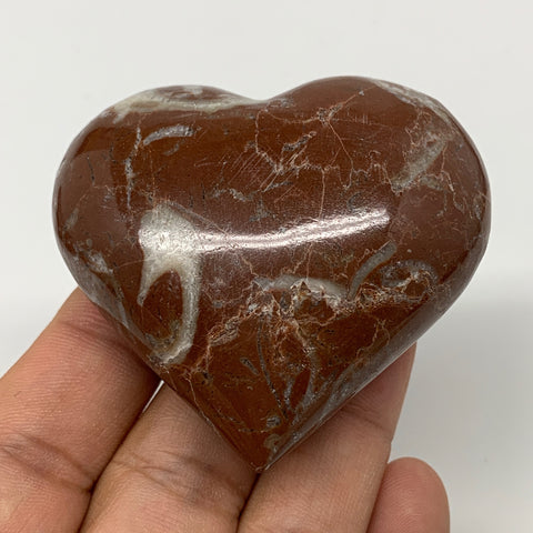 "98g,2.1""x2.3""x1""Natural Untreated Red Shell Fossils Heart Reiki Energy,F929"
