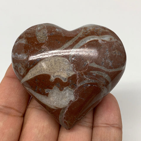 "99.3g,2.1""x2.3""x1""Natural Untreated Red Shell Fossils Heart Reiki Energy,F940"