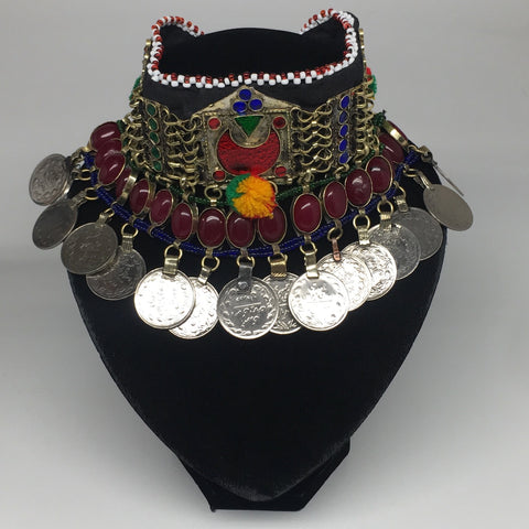 "11.5""x4.5"" Kuchi Choker Multi-Color Tribal Gypsy Bohemian Statement Coins,KC500"