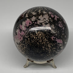 "1980g, 3.9"" (99mm) Natural Untreated Rhodonite Sphere Ball @Madagascar, B4665"