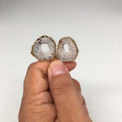 "7.4 grams, 1.7"" Agate Druzy Slice Geode Gold Plated Earrings from Brazil, BE139"