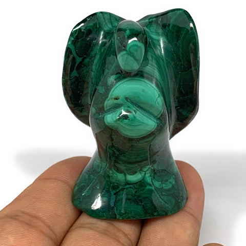 "102g, 2.1""x1.4""x1.3"" Natural Untreated Malachite Angel Figurine @Congo, B7314"