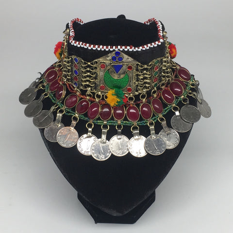 "11.4""x4.5"" Kuchi Choker Multi-Color Tribal Gypsy Bohemian Statement Coins,KC506"