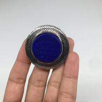 Antique Afghan Turkmen Tribal Round Lapis Lazuli Kuchi Ring Boho Statement,TR64