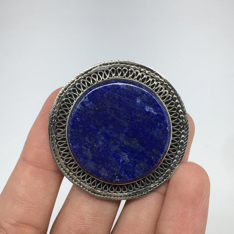 Antique Afghan Turkmen Tribal Round Lapis Lazuli Kuchi Ring Boho Statement,TR73