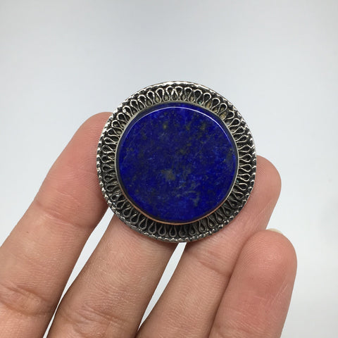 Antique Afghan Turkmen Tribal Round Lapis Lazuli Kuchi Ring Boho Statement,TR74