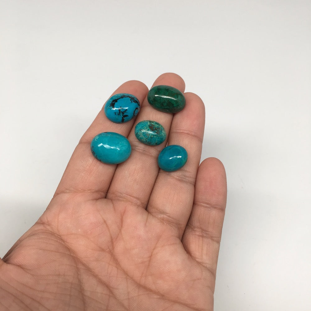 56 cts, 5pcs, Natural Oval Flat Bottom Chrysocolla Cabochons @Mexico,Lot35
