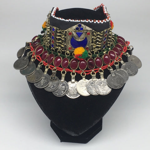 "11.5""x4.5"" Kuchi Choker Multi-Color Tribal Gypsy Bohemian Statement Coins,KC514"
