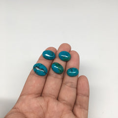 36.5 cts, 5pcs, Natural Oval Flat Bottom Chrysocolla Cabochons @Mexico,Lot39