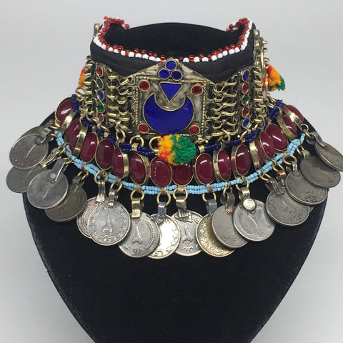 "11.5""x4.5"" Kuchi Choker Multi-Color Tribal Gypsy Bohemian Statement Coins,KC518"
