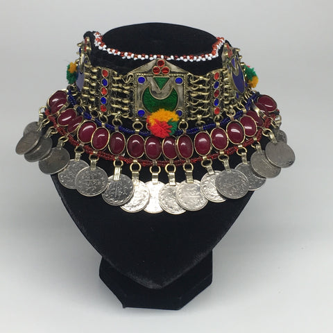 "11.5""x4.5"" Kuchi Choker Multi-Color Tribal Gypsy Bohemian Statement Coins,KC519"