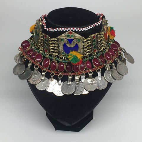 "11.5""x4.5"" Kuchi Choker Multi-Color Tribal Gypsy Bohemian Statement Coins,KC523"