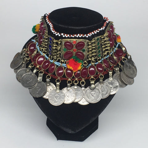 "11.5""x4.5"" Kuchi Choker Multi-Color Tribal Gypsy Bohemian Statement Coins,KC525"
