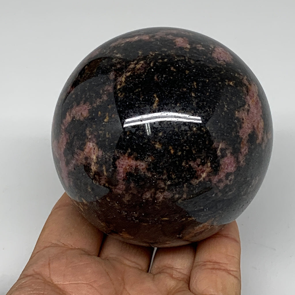 "788g, 3"" (76mm) Natural Untreated Rhodonite Sphere Ball @Madagascar, B4681"