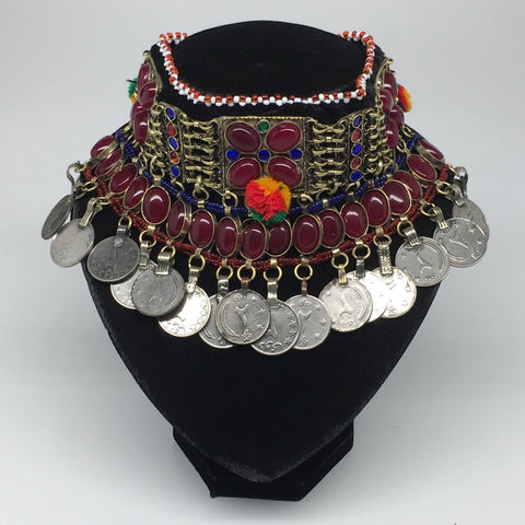 "11.5""x4.5"" Kuchi Choker Multi-Color Tribal Gypsy Bohemian Statement Coins,CK531"