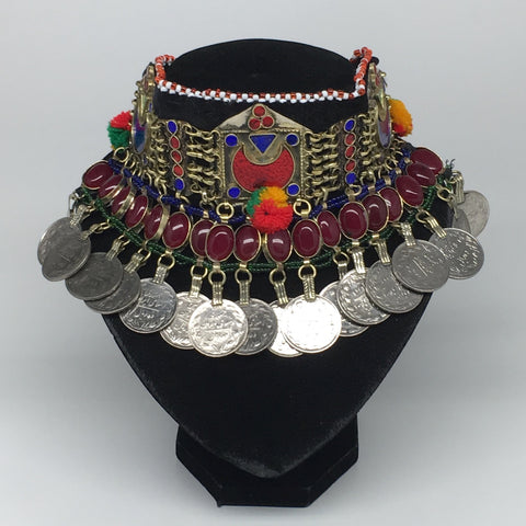 "11.5""x4.5"" Kuchi Choker Multi-Color Tribal Gypsy Bohemian Statement Coins,CK533"