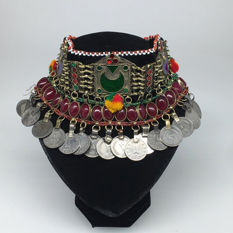 "11.25""x4.5"" Kuchi Choker Multi-Color Tribal Gypsy Bohemian Statement Coins,CK534"