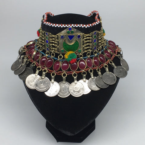 "11.25""x4.5"" Kuchi Choker Multi-Color Tribal Gypsy Bohemian Statement Coins,CK536"