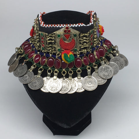 "11.5""x4.5""Kuchi Choker Multi-Color Tribal Gypsy Bohemian Statement Coins,CK539"