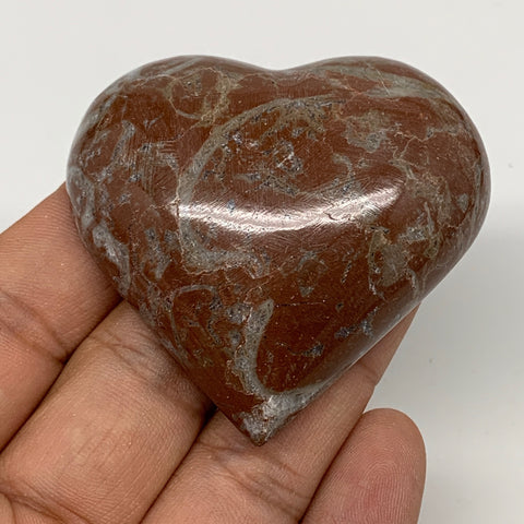 "65g, 2.1"" x 2.2""x 0.7"", Natural Untreated Red Shell Fossils Half Heart @Morocco,"