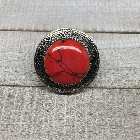 Antique Afghan Turkmen Tribal Round Shape Red Coral Inlay Kuchi Ring Boho, TR81