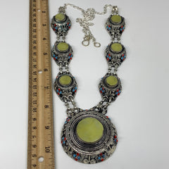 Turkmen Necklace Afghan Ethnic Tribal 7 Stone Yellow Jade Inlay Necklace T13N