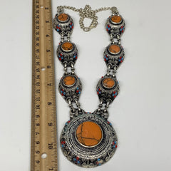 Turkmen Necklace Afghan Ethnic Tribal 7 Stone Orange Coral Inlay ATS Necklace T1