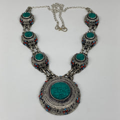 Turkmen Necklace Afghan Ethnic Tribal Necklace 7 Stone Turquoise Inlay Necklace