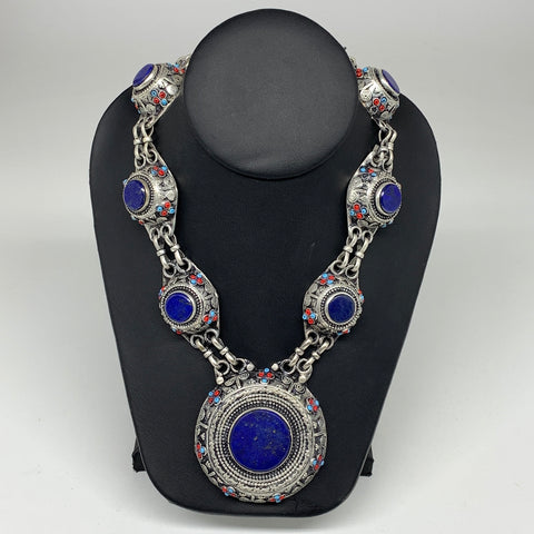 Turkmen Necklace Afghan Ethnic Tribal 7 Stone Blue Lapis Lazuli Inlay Necklace T