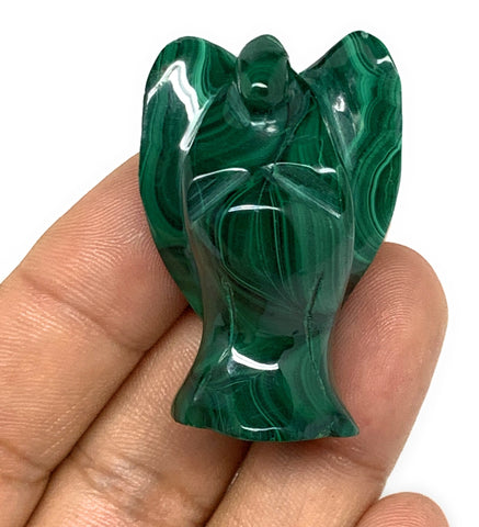 "41.5g, 1.6""x1.1""x0.9"" Natural Untreated Malachite Angel Figurine @Congo, B7339"