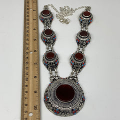 Turkmen Necklace Afghan Ethnic Kuchi Tribal 7 Stone Red Carnelian ATS Necklace T