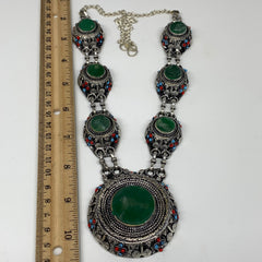 Turkmen Necklace Afghan Ethnic Tribal Necklace 7 Stone Green Jade Inlay Necklace