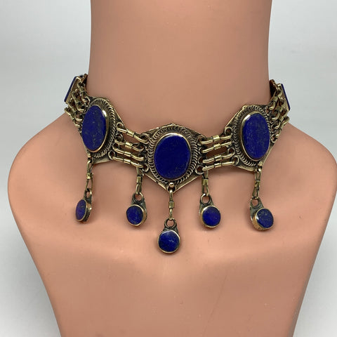 Choker Necklace Afghan Turkmen Tribal 5 Cab Stone Blue Lapis Lazuli Inlay Neckla